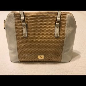 Lauren Ralph Lauren Straw Percy satchel White